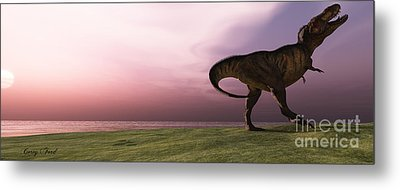 T-rex At Sunrise Metal Print by Corey Ford