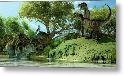 T-rex Defiance Metal Print by Corey Ford