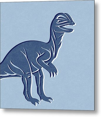 T-rex In Blue Metal Print by Linda Woods