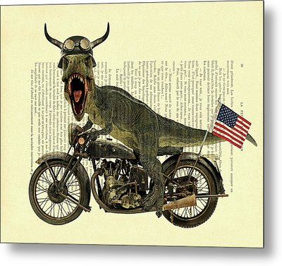 T Rex Riding His Harley, Dictionary Print Metal Print by Madame Memento