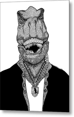 T Rex The Awesome Dinosaur Metal Print by Karl Addison