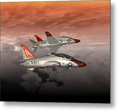 Metal Print featuring the digital art T45 Kiss-off by Mike Ray