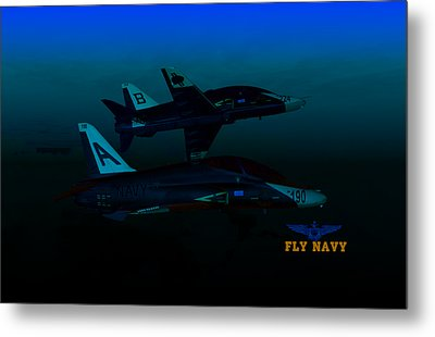 Metal Print featuring the digital art T45 Kiss-off Wt Wings by Mike Ray