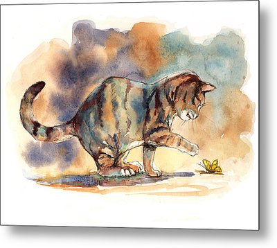 Tabby And Butterfly Metal Print by Peggy Wilson