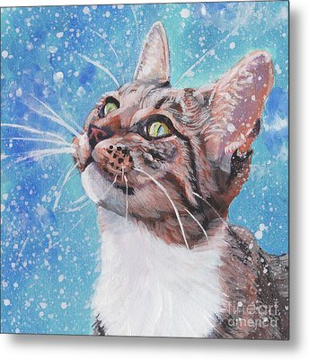 Metal Print featuring the painting Tabby Cat In The Winter by Lee Ann Shepard