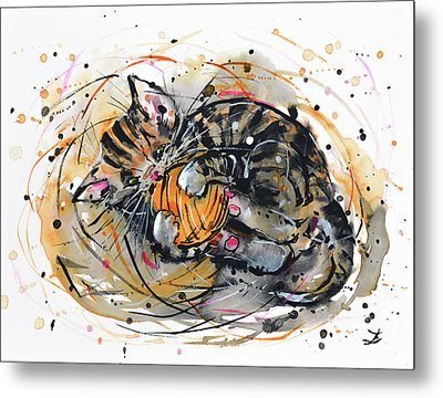 Tabby Kitten Playing With Yarn Clew  Metal Print
