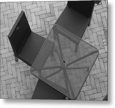 Table Chairs From Above Metal Print by Rob Hans