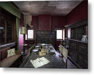 Table For Four - Abandoned Building Metal Print by Dirk Ercken
