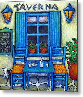 Table For Two In Greece Metal Print