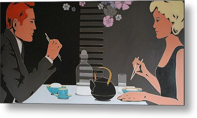 Table For Two Metal Print by Varvara Stylidou