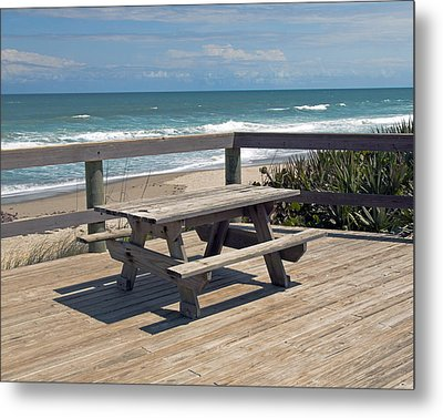 Table For You In Melbourne Beach Florida Metal Print by Allan  Hughes