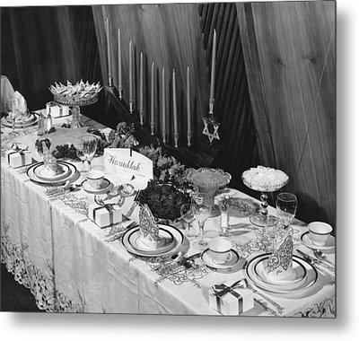Table Set For Hanukkah Metal Print