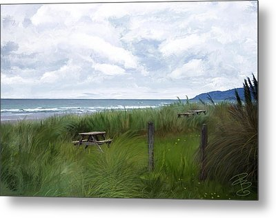 Tables By The Ocean Metal Print