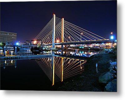 Tacoma Hwy 509 Bridge Up In Lights 2 Metal Print