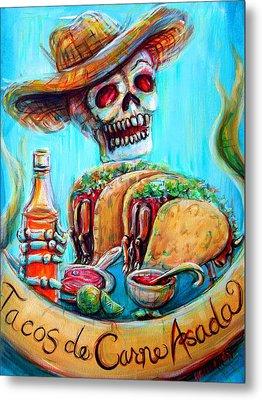Tacos De Carne Asada Metal Print by Heather Calderon