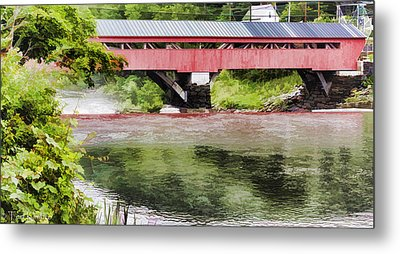 Taftsville Covered Bridge Watercolor Metal Print by Teri  Kimbro