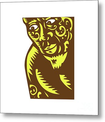 Tagaloa Peeking Woodcut Metal Print by Aloysius Patrimonio