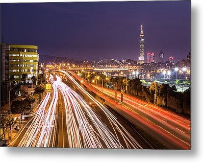 Taipei Light Trails At Night Metal Print by © copyright 2011 Sharleen Chao