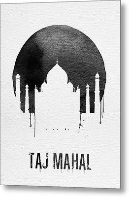 Taj Mahal Landmark White Metal Print by Naxart Studio