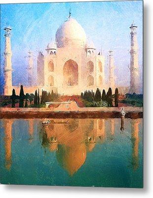 Taj Mahal Reflection Metal Print by Dan Sproul