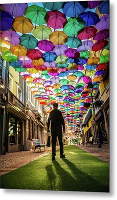 Take A Walk Under The Umbrella Sky Metal Print by Marco Oliveira