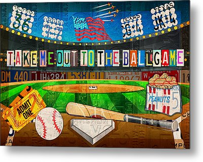 Take Me Out To The Ballgame Recycled Vintage License Plate Art Collage Metal Print by Design Turnpike
