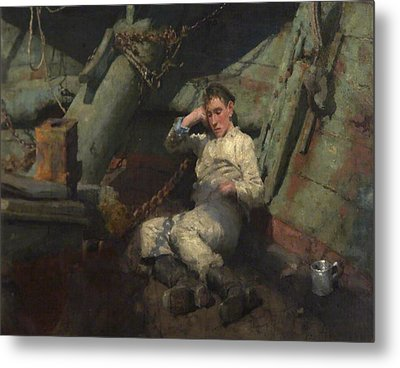 Metal Print featuring the painting Taking A Spell  by Henry Scott Tuke