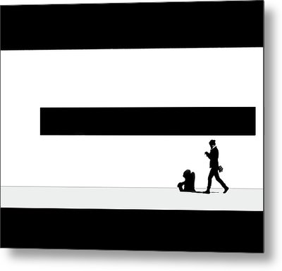 Taking Her Shadow For A Walk Metal Print