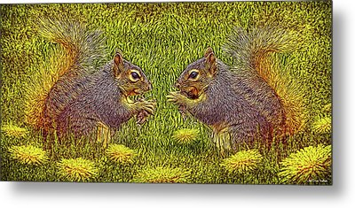Tale Of Two Squirrels Metal Print by Joel Bruce Wallach