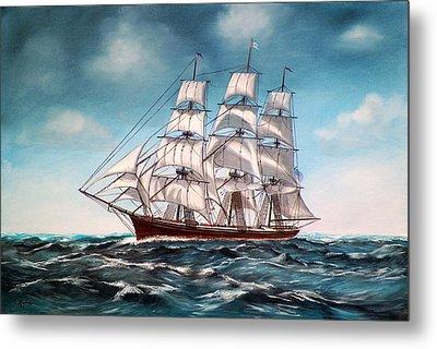 Tall Ship At Sea Metal Print