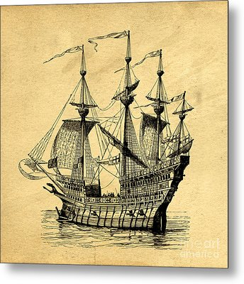 Metal Print featuring the drawing Tall Ship Vintage by Edward Fielding