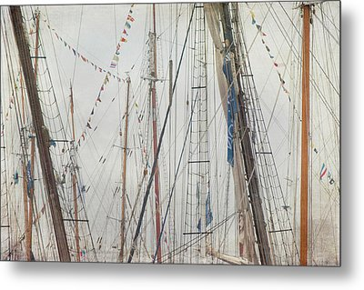 Tall Ships And Schooners Rigging And Masts  Metal Print