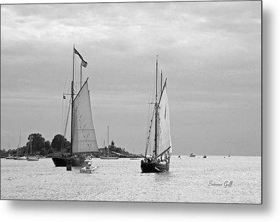 Tall Ships Sailing I In Black And White Metal Print