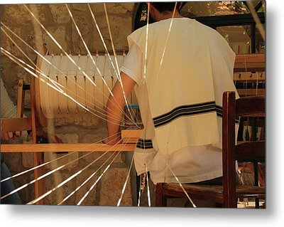Jewish Prayer Shawl Weaving In Tzfat Metal Print by Yoel Koskas