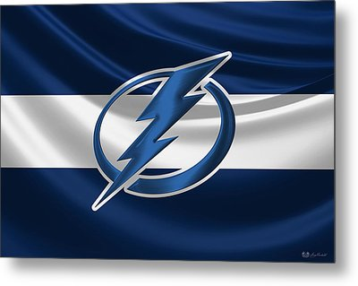 Tampa Bay Lightning - 3 D Badge Over Silk Flag Metal Print by Serge Averbukh