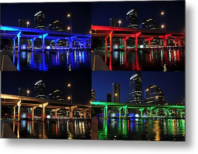 Metal Print featuring the photograph Tampa's Colorful Bridges by David Lee Thompson