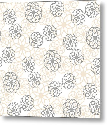 Tan And Silver Floral Pattern Metal Print by Christina Rollo