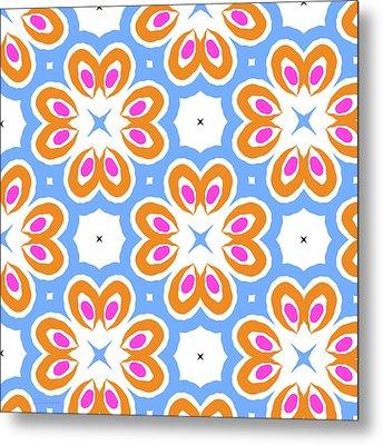 Tangerine And Sky Floral Pattern- Art By Linda Woods Metal Print