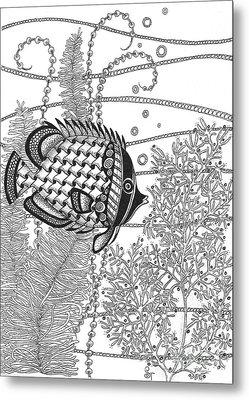 Tangle Fish II Metal Print by Stephanie Troxell