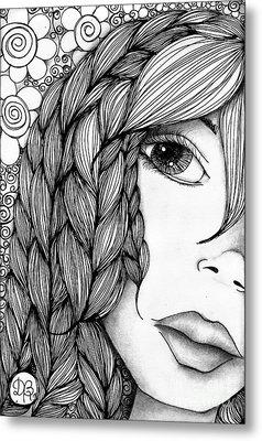 Tangle Lady Metal Print by Delein Padilla