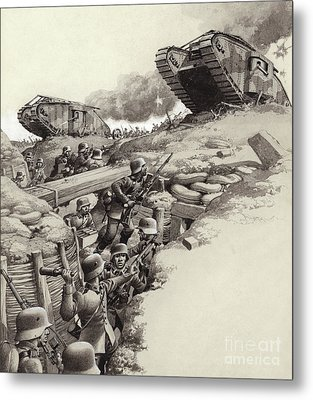 Tanks Roll Over German Trenches During The Great War  Metal Print