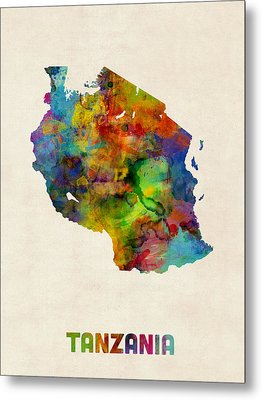 Tanzania Watercolor Map Metal Print by Michael Tompsett