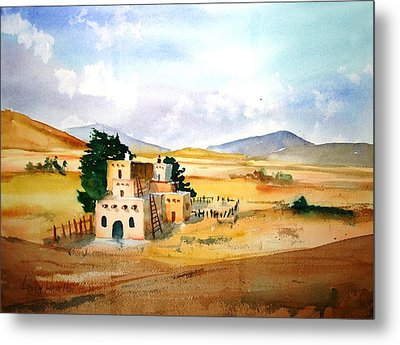 Taos Adobe Metal Print by Larry Hamilton