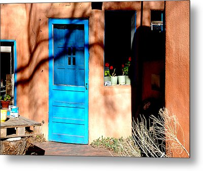 Metal Print featuring the photograph Taos Blue Door by Kathleen Stephens