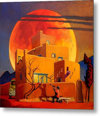 Taos Wolf Moon Metal Print by Art West
