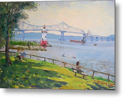 Tappan Zee Bridge And Light House Metal Print by Ylli Haruni