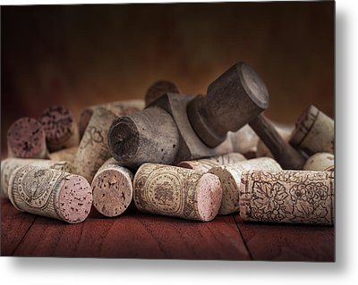 Tapped Out - Wine Tap With Corks Metal Print by Tom Mc Nemar