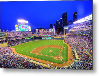 Target Field At Night Metal Print by Shawn Everhart