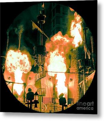 Target In Flames Metal Print by Andy Smy