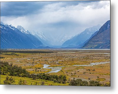 Tasman River At Aoraki Mount Cook National Park Metal Print